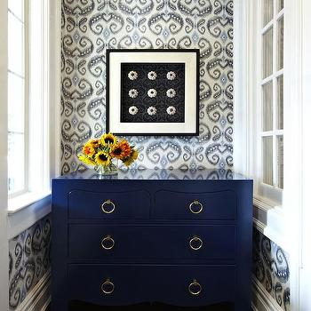 Chango & Co. - entrances/foyers: foyer, navy dresser, navy blue dresser, 4 drawer dresser, bungalow 5 dresser, ikat wallpaper, blue and gray wallpaper, blue and gray ikat wallpaper,
