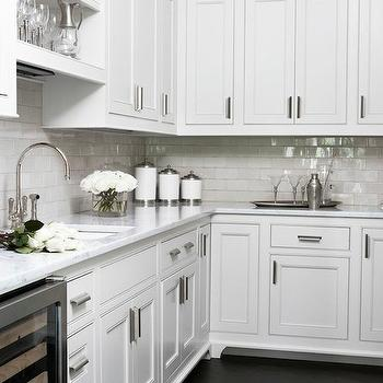 Linda McDougald Design - kitchens - stacked cabinets, stacked kitchen cabinets, butlers pantry, butler pantry cabinets, white marble countertops, glazed subway tiles, gray subway tiles, gray glazed tiles, gray glazed subway tiles, over the sink shelf, over the sink shelves, shelf over the sink, shelves over sink, shelves over the sink, L shaped butlers pantry, wine fridge, glass door wine fridge, dark wood floors, diagonal wood floors, floors installed diagonally, wood diagonal floors, gooseneck faucet, butler pantry shelf, butler pantry shelves,