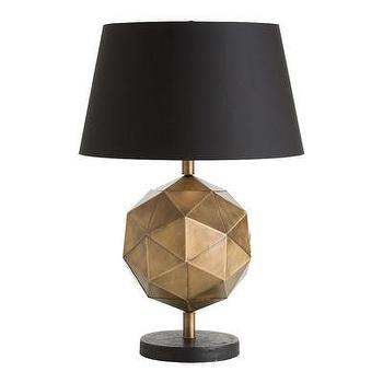 Lighting - ARTERIORS Home Dru Table Lamp I AllModern - antique brass table lamp, modern brass table lamp, geometric brass table lamp, faceted brass table lamp,