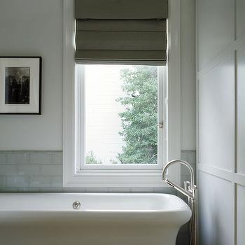 Matarozzi Pelsinger Builders - bathrooms - white and gray bathrooms, half tiled walls, half tiled bathroom walls, gray glass tiles, gray glass subway tiles, off set window, taupe roman shade, freestanding bathtub, gooseneck tub filler, floor mounted tub filler,
