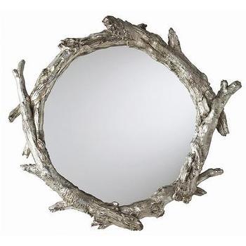 Mirrors - ARTERIORS Home Oakley Mirror | AllModern - silver faux bois mirror, round faux bois mirror, silver branch wall mirror, silver twig wall mirror,
