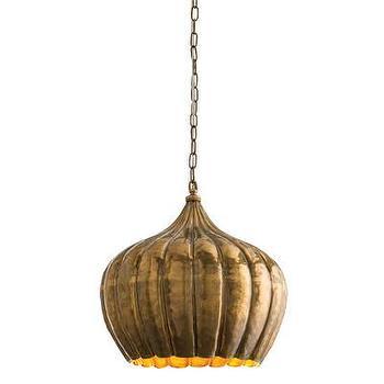 Lighting - ARTERIORS Home Genova 1 Light Pendant | AllModern - vintage brass pendant, brass gourd shaped pendant, hammered brass pendant,