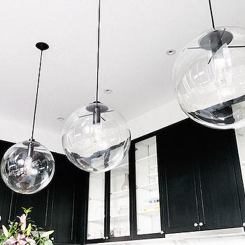 The Block Glasshouse - kitchens - black cabinets, black kitchen cabinets, glass front kitchen cabinets, clear glass globe pendants, clear glass light pendants, glass globe pendants,