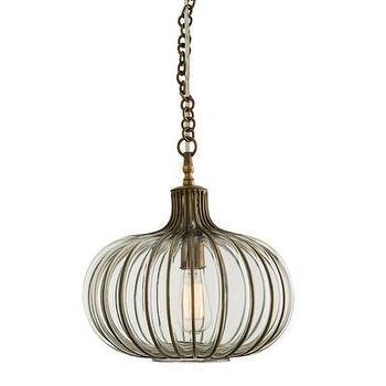 Lighting - ARTERIORS Home Kinsley 1 Light Inverted Pendant | AllModern - onion shaped pendant, glass and brass pendant light, brass cage pendant light,