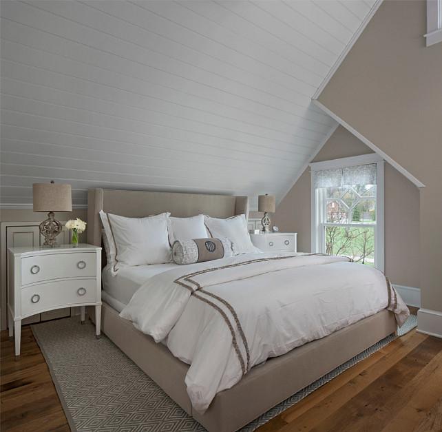 Beige Wingback Bed Cottage Bedroom Benjamin Moore