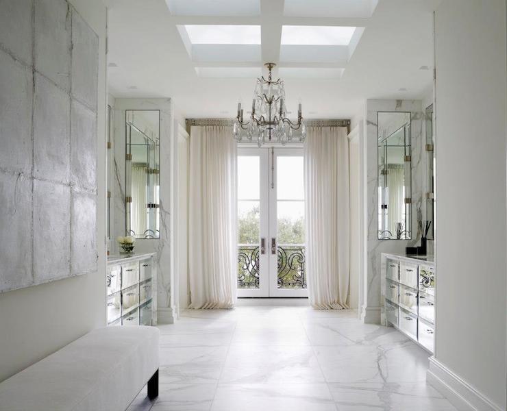 Deborah Oppenheimer Interior Design - bathrooms - elegant bathrooms, sophisticated bathrooms, skylights, bathroom skylights, skylights in bathrooms, rows of skylights, french doors, bathroom french doors, french bathroom doors, juliet balcony, bathroom balcony, master bathrooms, master bathroom ideas, master bathroom balcony, bathroom balcony, bathroom juliet balcony, mirror washstands, mirrored washstands, mirror vanity, mirrored vanity, mirror sink vanity, mirrored sink vanity, mirrored apothecary chest, mirror apothecary chest, apothecary vanity, apothecary washstand, mirrored apothecary vanity, mirrored apothecary washstand, face to face washstands, face to face vanities, washstands facing each other, his and her vanities, his and her washstands, bathroom chandeliers, statuary marble, statuary floor, statuary marble floor,