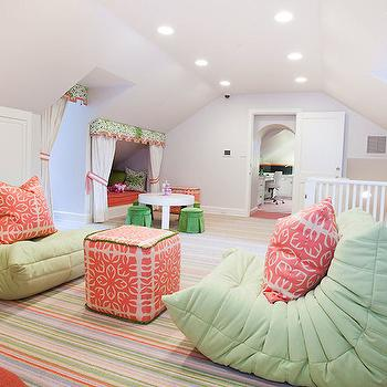 Laura U Interior Design - girl's rooms - attic kids room, attic playroom, kids chairs, kids lounge chairs, green kids chairs, green kids lounge chairs, togo chairs, fireside chairs, colorful striped rug, kids rugs, coral pink pillows, coral pink cube pouf, cube pouf, reading nook, kids reading nooks, kids reading nook ideas, reading nook curtains, reading nook drapes, reading nook drapery, reading nook valence, kids curtains, kids valance, tie backs, play table, modern play tables, skirted stools, green stools, green skirted stools,