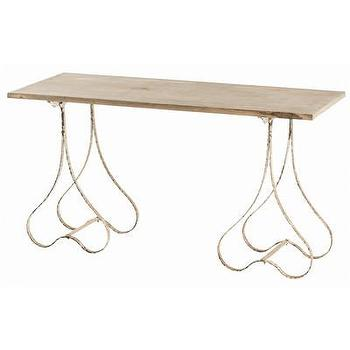 Tables - ARTERIORS Home Eakin Console Table | AllModern - forged iron and wood console, whitewashed iron console table, iron and wood console table,