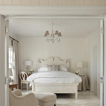 Cottage Company Interiors - bedrooms - monochromatic bedrooms, cottage bedrooms, european bedrooms, paneled bedrooms, paneled ceiling, paneled bedroom ceiling, bedroom paneled ceiling, whitewashed bed, mismatched nightstands, mismatched bedside tables, desk ad nightstand, desk nightstand, gustavian chair, swedish chair, skirted nightstand, round nightstand, round bedside table, round skirted nightstand, round skirted bedside table, diamond tiled floor, diamond pattern floor, diamond floor tiles, whitewashed chandelier, cottage bedrooms, european cottage bedrooms,