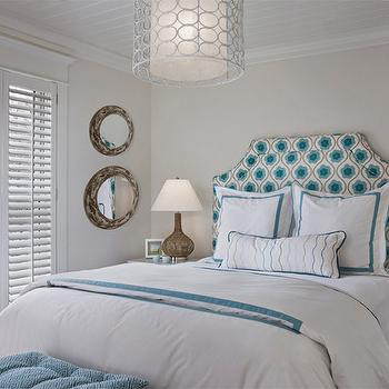 Turquoise Border Bedding, Cottage, bedroom, Cottage Company Interiors