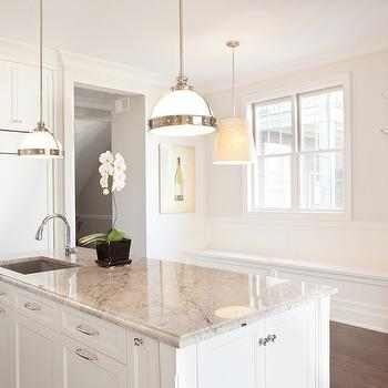 PLD Custom Homes - kitchens - white and gray granite, white and gray granite countertops, kitchen island, prep sink, island prep sink, gooseneck faucet, island pendants, kitchen island pendants, concealed refrigerator, paneled refrigerator, built in banquette,