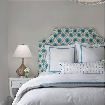Cottage Company Interiors - bedrooms - white and blue bedrooms, white and turquoise bedrooms, silver drum pendant, oval rings pendant, oval rings chandelier, bedroom pendant, bedroom chandelier, print headboard, turquoise print headboard, turquoise bedding, white and turquoise bedding, turquoise border bedding, turquoise border duvet, turquoise border shams, white and turquoise duvet, white and turquoise shams, white nightstands, turquoise bench, turquoise geometric bench, plank ceiling, bedroom plank ceiling, plank bedroom ceiling,