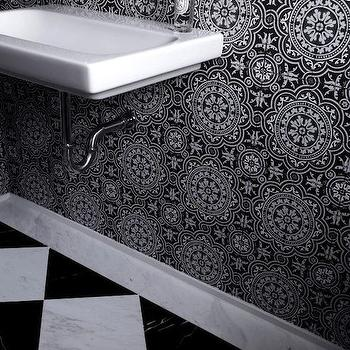 Deborah Oppenheimer Interior Design - bathrooms - black and white bathrooms, wall mounted sink, wall mounted faucet, gooseneck faucet, wall mounted gooseneck faucet, black and white tiles, black and white mosaic tiles, black and white backsplash, black and white bathroom backsplash, black and white mosaic backsplash, black and white floor tiles, black and white marble tiles, black and white diamond tiles,