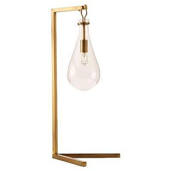 Lighting - ARTERIORS Home Sabine Table Lamp I AllModern - brass lamp with glass shade, teadrop glass table lamp, brass and glass table lamp,