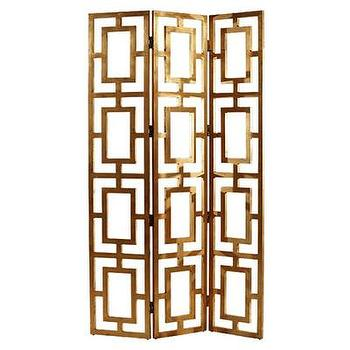 Decor/Accessories - ARTERIORS Home Guilded Open Work Room Divider I AllModern - gold iron room divider, hollywood regency room divider, hollywood regency floor screen, gilded open work room divider, gold geometric room divider,