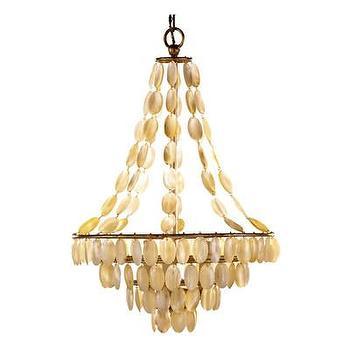 Lighting - ARTERIORS Home Southampton 3 Light Iron / Shell Chandelier | AllModern - pearlescent shell chandelier, shell chandelier, seashell chandelier,