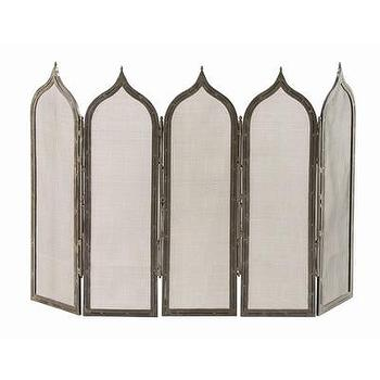 Decor/Accessories - ARTERIORS Home Georgie 5 Panel Iron Fireplace Screen | AllModern - gothic fireplace screen, gothic arch fireplace screen, iron arch fireplace screen,
