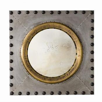 Mirrors - ARTERIORS Home Hartley Mirror | AllModern - riveted square wall mirror, zinc and bronze wall mirror, industrial zinc wall mirror,