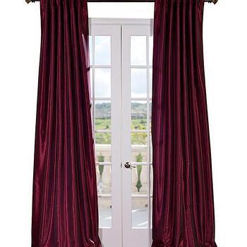 Magenta Vintage Textured Faux Dupioni Silk Curtains & Drapes