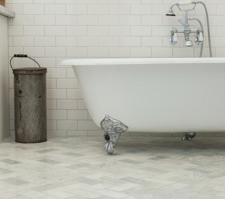My Rafter House: Marble Herringbone Tiled Floor