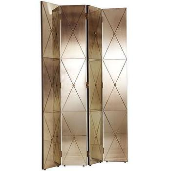Decor/Accessories - ARTERIORS Home Stephan Room Divider I AllModern - hollywood regency floor screen, antiqued mirror floor screen, antiqued mirror room divider, brass and mirror room divider,