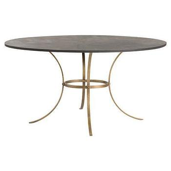 Tables - ARTERIORS Home Harlow Dining Table | AllModern - brass based dining table, black and brass dining table, modern brass dining table, antiqued brass base dining table, iron and brass dining table,