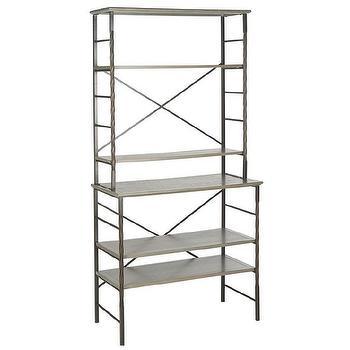 Storage Furniture - Safavieh Brooke Ash Grey Etegere | Overstock - iron and wood etagere, iron bakers rack, iron and wood bakers rack, industrial etagere,