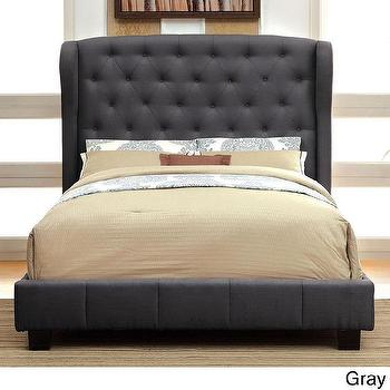 Beds/Headboards - Draviosa Padded Flax Wingback Platform Bed | Overstock - gray tufted headboard, gray tufted platform bed, gray tufted wingback bed,