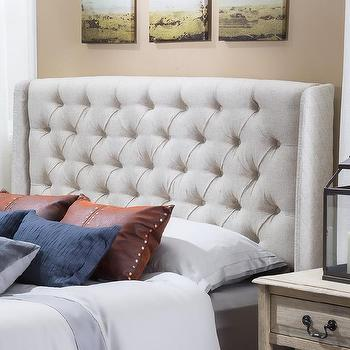Beds/Headboards - Christopher Knight Home Perryman Tufted Fabric Headboard | Overstock - beige tufted headboard, beige button tufted headboard, beige wingback headboard,