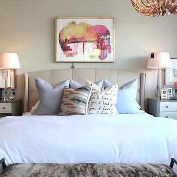 Alice Lane Home - bedrooms - i love you pillow, script pillow, white bedding, white duvet, blue pillow, blue gray pillow, blue and red abstract pillow, abstract art, art over headboard, pink and orange abstract art, mismatched nightstands, gray nightstand with white drawer, contemporary white and gray nightstand, tapered glass table lamp, tapered crystal table lamp, taupe walls, taupe wall color, art over nightstand, art above nightstand, grid tufted headboard, grid tufted wing headboard, linen grid tufted headboard, shell chandelier, oyster shell chandelier, cowhide bench, bedroom bench, iron cowhide bench, white and gray nightstands, gray nightstands, 2 tone nightstands, octagonal spire lamp, octagonal crystal lamps,