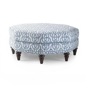 Seating - Natasha Blue Octagonal Ottoman | Overstock - blue geometric ottoman, blue fretwork ottoman, blue and white octagonal ottoman, octagonal upholstered ottoman,