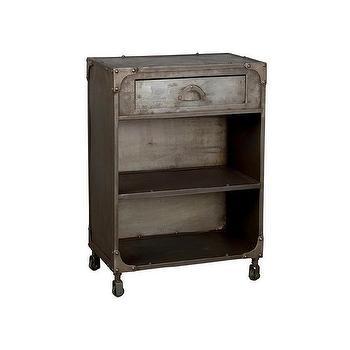 Storage Furniture - Sarnath Natural Iron Nightstand (India) | Overstock - iron nightstand riveted iron nightstand, single drawer iron nightstand, industrial iron nightstand,