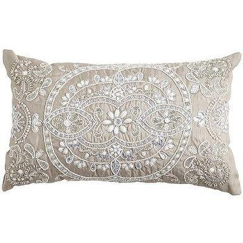 Pillows - Beaded Medallion Lumbar Pillow I Pier One - gray beaded lumbar pillow, beaded medallion lumbar pillow, silver beaded lumbar pillow,