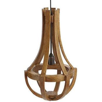 Lighting - Maison Wood Pendant Lamp - Pecan Brown I Pier One - wooden chandelier, mango wood chandelier, curved wood chandelier,