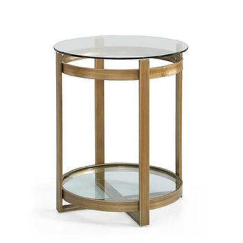 Tables - Retro Glitz Glass/ Metal End Table | Overstock - gold glass end table, contemporary gold end table, round gold end table, brushed gold end table,