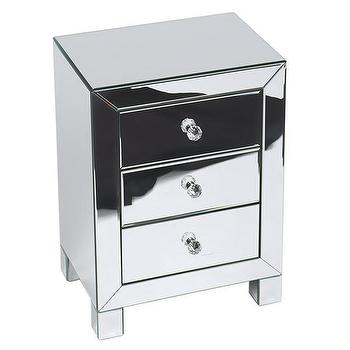 Storage Furniture - Ave Six Reflections 3-drawer Accent Table | Overstock - mirrored accent table, mirrored chest, mirrored bedside table,