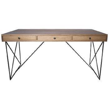 Storage Furniture - Muse Dark Walnut Kato Desk | Overstock - minimalist desk, walnut desk, contemporary walnut desk, walnut and steel desk,
