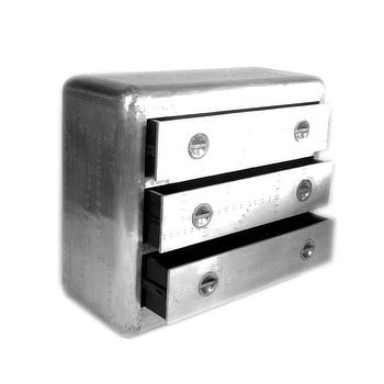 Storage Furniture - Aero 3-drawer Silver Chest Nightstand | Overstock - aviator nightstand, silver riveted nightstand, aviator chest of drawers, polished aluminum nightstand,