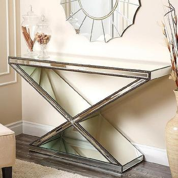 Tables - Abbyson Living Cosmo X-shaped Mirrored Console Table | Overstock - mirrored console table, x shaped mirrored console, mirrored nailhead console table,
