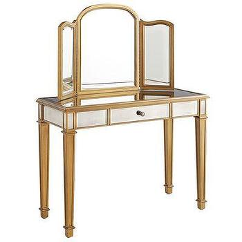 Storage Furniture - Hayworth Mirror & Vanity -  Gold I Pier One - mirrored dressing table, mirrored vanity, gold mirrored vanity, gold mirrored dressing table,