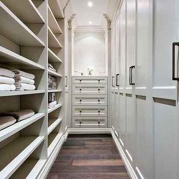 House & Home - closets - master closet, master closet ideas, narrow closets, narrow walk in closets, floor to ceiling shelving, closet shelves, closet shelving, sweater shelves, built in closet shelves, built in wardrobe, built in wardrobe cabinets, built in dresser, built in lingerie chest, lingerie chest,