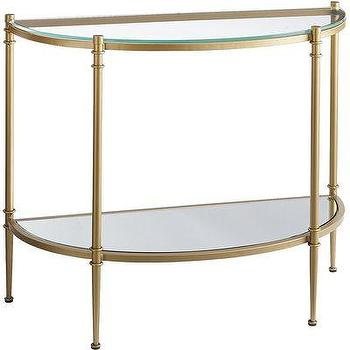 Tables - Clara Console Table - Gold I Pier One - gold demi lune console table, gold and glass console table, gold console table with shelf,