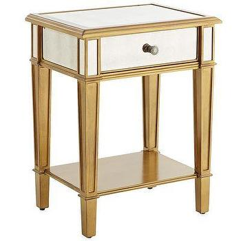 Storage Furniture - Hayworth Nightstand - Gold I Pier One - gold mirrored nightstand, antiqued gold mirrored nightstand, gold mirrored bedside table,
