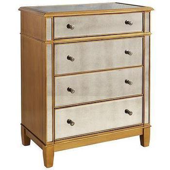 Storage Furniture - Hayworth Chest - Gold I Pier One - gold mirrored chest, gold mirrored dresser, antiqued gold mirrored chest,
