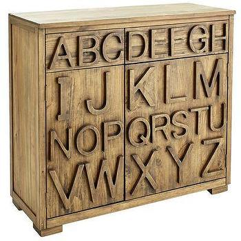 Storage Furniture - ABC Wine Cabinet I Pier One - farmhouse wine cabinet, alphabet print wine cabinet, modern wooden wine cabinet,
