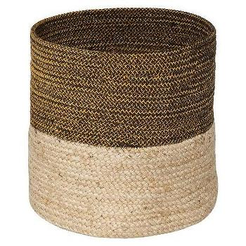 Decor/Accessories - Nate Berkus Jute and Lurex Storage Bin I Target - banded jute storage bin, banded jute basket, striped jute basket,