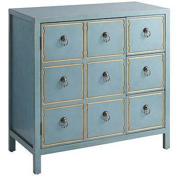 Storage Furniture - Quenn Cabinet - Smoke Blue I Pier One - blue cabinet, draper style cabinet, blue draper style cabinet, black and gold cabinet,