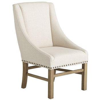 Seating - Miriam Dining Chair - Natural I Pier One - linen nailhead dining chair, oak and linen dining chair, linen transitional dining chair,