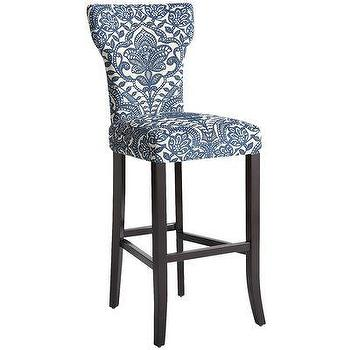 Seating - Carmilla Barstool - Blue Damask I Pier One - blue and white barstool, blue damask barstool, indigo blue barstool,