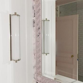 Christine Dovey - bathrooms - rose wallpaper, modern floral wallpaper, ellie cashman, ellie cashman wallpaper, vanity nook, sink vanity nook, washstand nook, bathroom nooks, greek key mirror, pink mirror, pink vanity mirror, pink greek key mirror, bath wall lights, marble top washstand, bathroom wallpaper, wallpaper for bathrooms, pink bathrooms, white and pink bathrooms, Rose Decay Wallpaper, Calliope Bath Light,